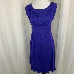 Gilli Rouched Empire Waist Knit Dress Purple L